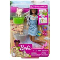 Barbie állatka napközi szett barna babával (FXH12) - Utolsó darabok!
